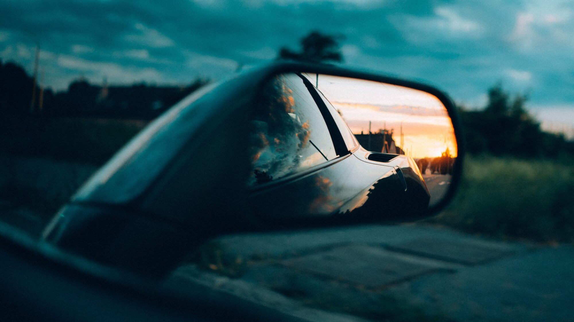 checking the rearview mirror